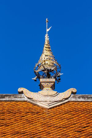 gable: gable on apex roof Thai Temple Stock Photo