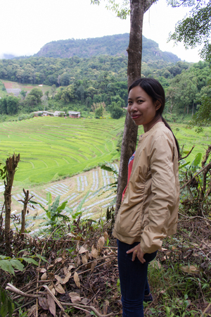 terraced field: Thai woman with Terraced Rice Field, Pha Mon Chiangmai Thailand