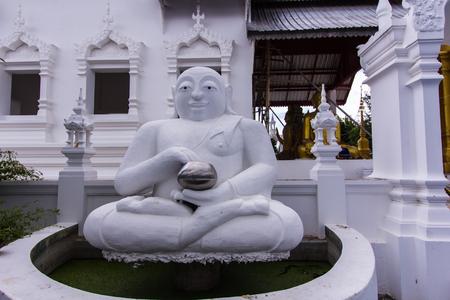 thai monk: White Katyayana statue, Thai monk Stock Photo