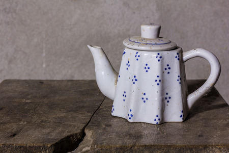 brew house: still life classic ceramic kettle Stock Photo