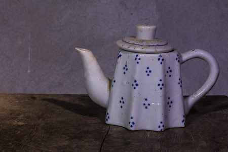 ware house: still life classic ceramic kettle Stock Photo