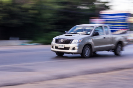 speeding: pick-up Speeding in road Editorial