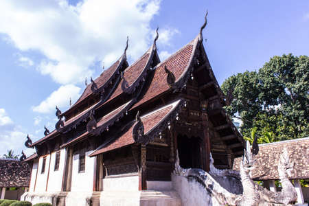 ton: Wat Ton Kain, Old wood chapel in Chiang Mai Thailand Stock Photo