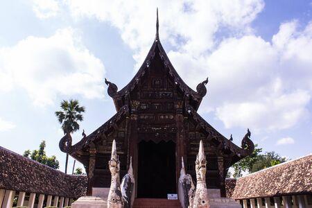 ton: Wat Ton Kain, Old wood chapel in Chiang Mai Thailand Stock Photo