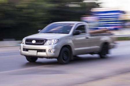 joyride: pick-up Speeding in road Stock Photo