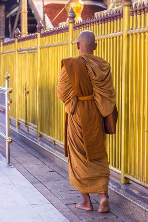 thai monk: Thai monk walk Stock Photo