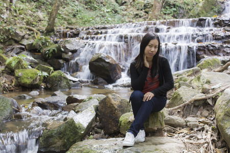 pong: Thai woman with Mae Kam Pong waterfall, Chiangmai Thailand