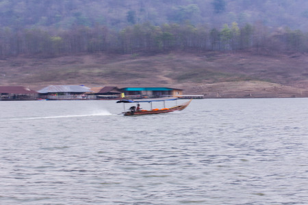 chiangmai: Pan Camera Ship sailing at Mae Ngad dam in Maetaeng Chiangmai Thailand Stock Photo