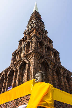 hariphunchai: Old pagoda in Wat Phra That Hariphunchai, Lamphun Thailand Stock Photo