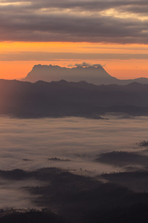 doi: Sea Of Mist With Doi Luang Chiang Dao, View Form Doi Dam in Wianghaeng Chiangmai Thailand Stock Photo
