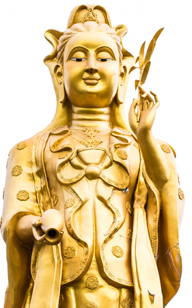 golden guan yin statue isolated on white