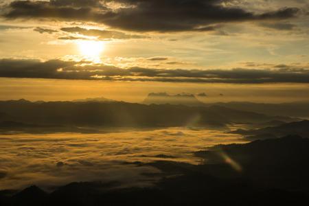 Sea Of Mist With Doi Luang Chiang Dao, View Form Doi Dam in Wianghaeng Chiangmai Thailand Stock Photo
