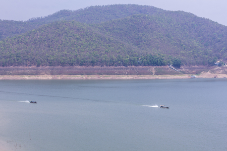 Ship sailing at Mae Ngad dam in Chiangmai Thailand