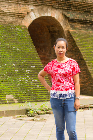 Portrait Thai woman at Wat Umong Tunnel in Chiang Mai, Thailand Stock Photo