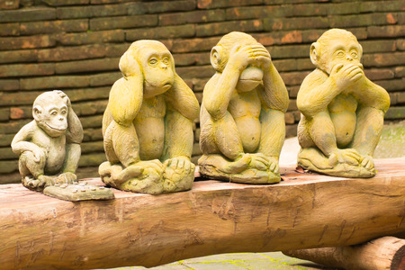 4 monkey statue in Thai temple