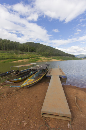Ship with wood Pontoon boat, Mae Ngad Dam and Reservoir in Mae Taeng Chiang Mai  Thailand