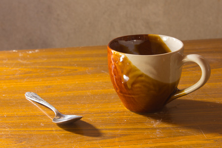 coffee spoon: still life ceramic cup with Coffee Spoon Stock Photo