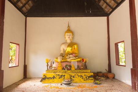 lanna: White Golden buddha statue lanna style in temple Stock Photo