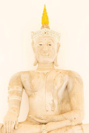 holy night: Thai buddha statue Isolated on white Stock Photo