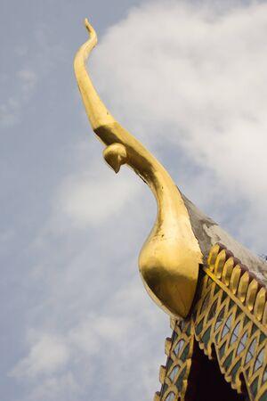 Golden naga gable apex with sky