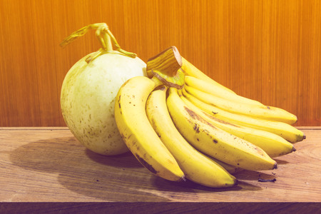 reticulated: Still Life of Banana And Cantaloupe