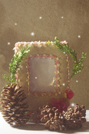 Peper picture frame Pine cones and tree chrismas with snow still life Stock Photo