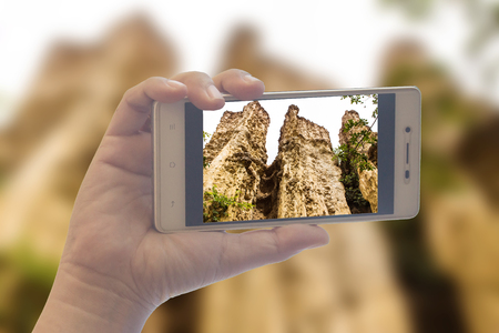 People use mobile phone photograph Kew Sue Ten in Doi Lo  Chiangmai , Grand Canyon National Park, Thailand