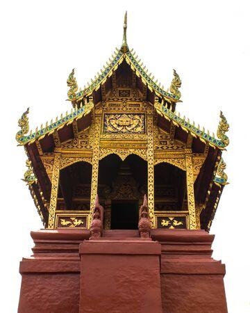 worshipping: Thai art chapel Isolated on white Stock Photo