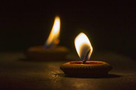 Lanna candle light of Loy Krathong festival Stock Photo