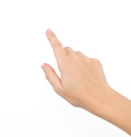 click: female hand on the isolated background