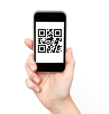 qrcode: isolated woman hand holding the phone with qr code Stock Photo