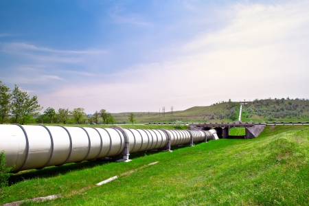 gas pipe: Industrial pipe with gas and oil Stock Photo