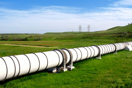 Industrial pipe with gas and oil photo