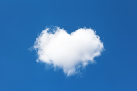 cloud shape: cloud in the form of heart on the background of blue sky
