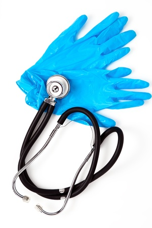 medical sterile gloves and stethoscope photo