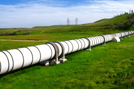 gas supply: Industrial pipe with gas and oil Stock Photo