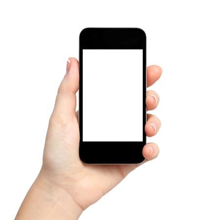 mano touch: donna isolato mano che tiene la compressa telefono gadget computer touch con display isolato Archivio Fotografico