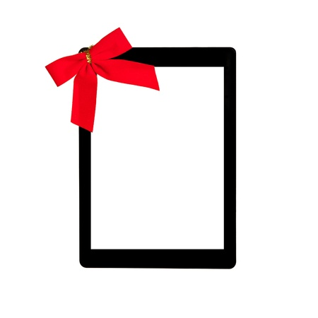 tablet touch computer gadget with isolated screen and a red gift bow Stock Photo - 17388817
