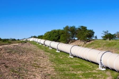 oil pipeline: Industrial pipe with gas and oil Stock Photo