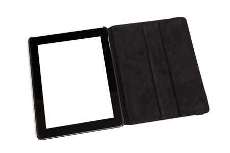 tablet with isolated screen in black carrying case Stock Photo - 17675474