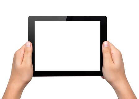 Men hands hold a tablet touch pad computer gadget with isolated screen photo