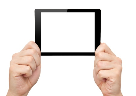 man hands hold a mini tablet touch pad computer gadget with isolated screen  photo