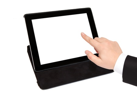 tablet with isolated screen in black carrying case and businessman hand points to something Stock Photo - 17969462