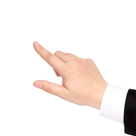 gestures: isolated hand of a businessman in a suit shows the direction