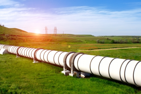 gas pipeline: Industrial pipe with gas and oil Stock Photo