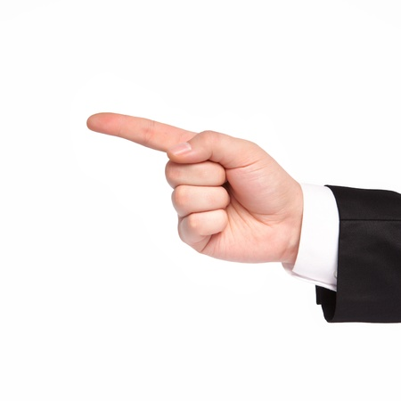 isolated hand of a businessman in a suit shows the direction photo