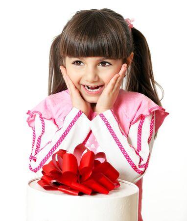 little girl happy gift Stock Photo - 18178608