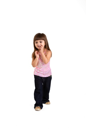 isolated The laughing little girl to the utmost Stock Photo - 18178619