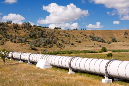 gas refinery: Industrial pipe with gas and oil Stock Photo