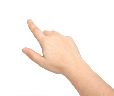 isolated male hand touching or pointing to something photo